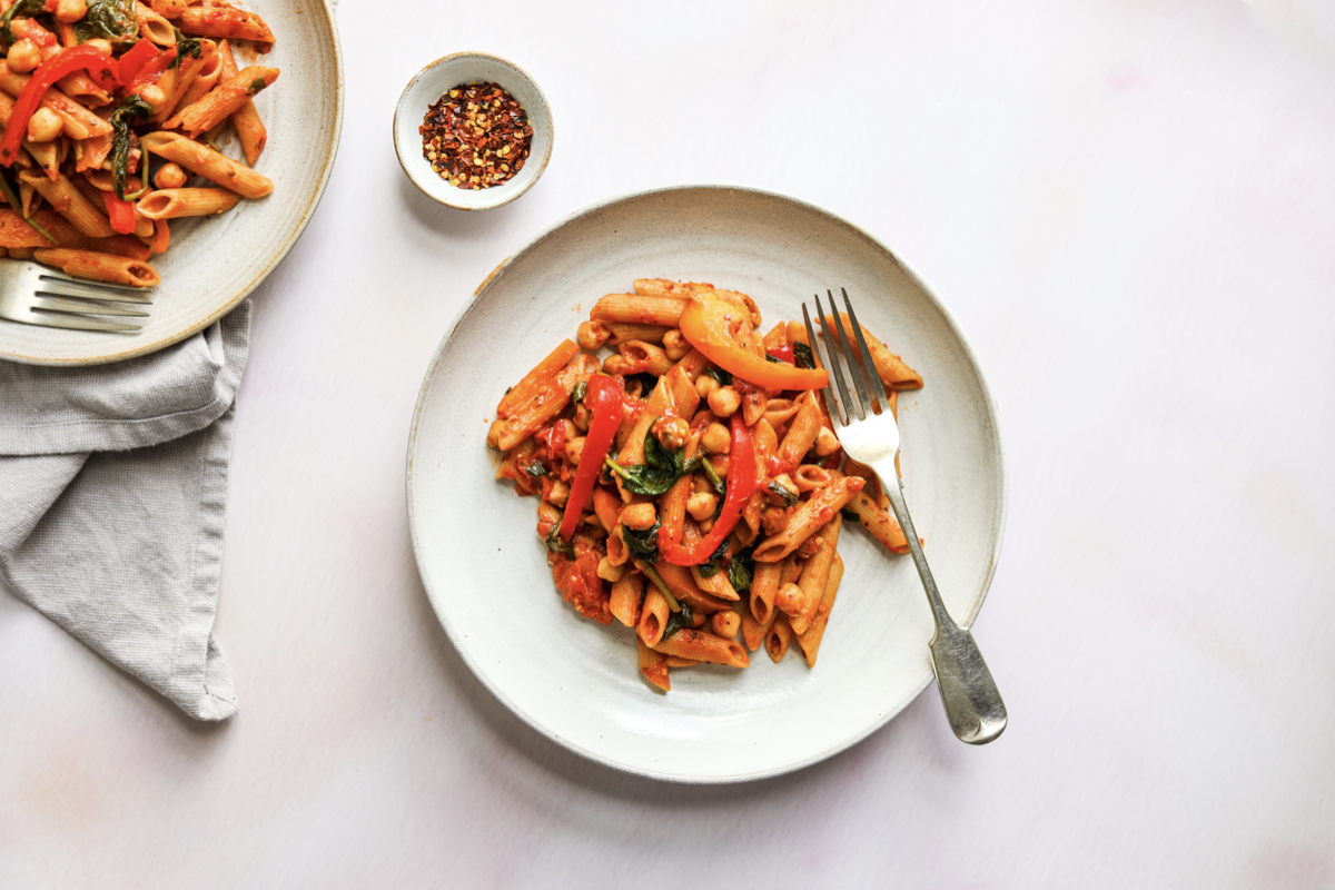 Chickpea & Tomato Pasta Home Recipe - The Food Medic